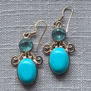 Sterling silver turquoise and topaz